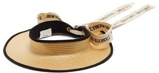 Gucci Embroidered-ribbon Straw Visor - Ivory
