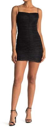Lush Ruched Lace Mini Dress