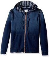 True Grit Men's Terry and Slub Stripe Waterman Zip Hood Jacket
