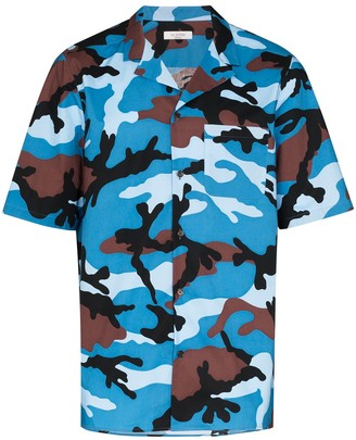 Valentino Camp Collar Camouflage Shirt