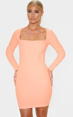 PrettyLittleThing Peach Bandage Rib Long Sleeve Square Neck Bodycon Dress