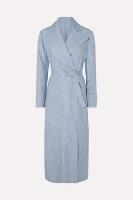 Giuliva Heritage Collection The Belinda Pinstriped Linen Coat - Light blue