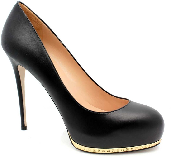 "Valentino EWS00152"" Studded Stiletto Black Leather Platform Pump"