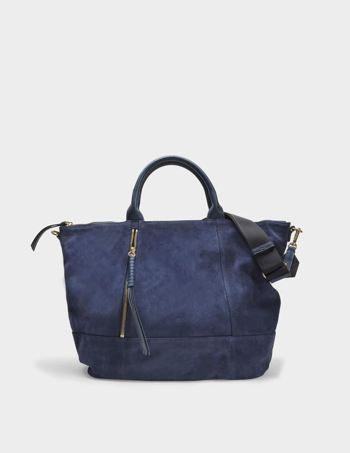 Gerard Darel Only You Tote Bag in Navy Velvet Calfskin