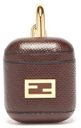 Fendi Ff-logo Snakeskin Airpods Case - Brown