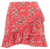 Topshop Red Flower Frill Skirt