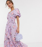 John Zack Petite exclusive puff sleeve wrap midi dress with ruffle hem in lilac floral
