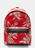 Saint Laurent Men's Hibiscus Canvas Hunting Backpack In Red