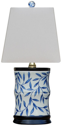 East Enterprises Inc Blue and White Small Bamboo Leave Vase Lamp