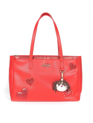Love Moschino Red Grainy Eco-leather Tote W/hearts And Charm