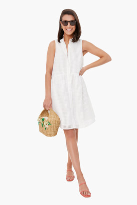White Burnout Sleeveless Royal Shirt Dress