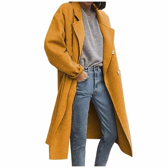 TIMEMEAN Double Breasted Oversized Trench Coats for Women Long Sleeve Open Front Long Jacket Overcoat Yellow 5XL