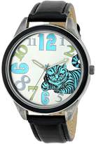 Disney Women's Alice in Wonderland Cheshire Cat Dial Leather Watch AL1002B