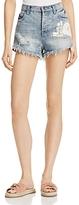 POL Lace Applique Denim Shorts