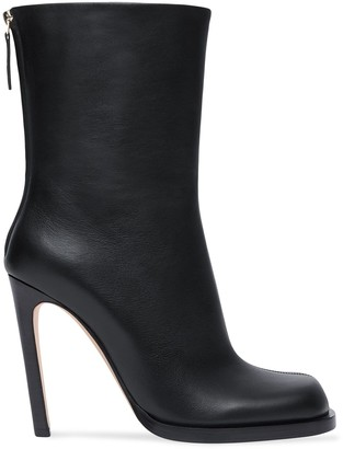 Burberry Vintage Check-Lined Leather Ankle Boots