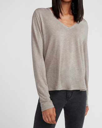 Express Relaxed Long Sleeve V-Neck Tee