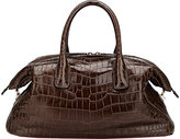 Zagliani Women's Crocodile Tebako Satchel-BROWN