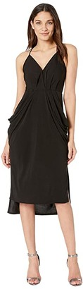 BCBGeneration Drape Pocket Midi Dress (Black) Women's Dress