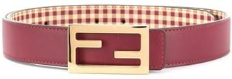 Fendi Red Leather Classic Logo Belt