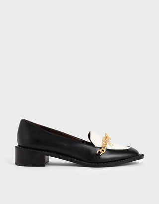 Charles & Keith Two-Tone Chain Link Loafers