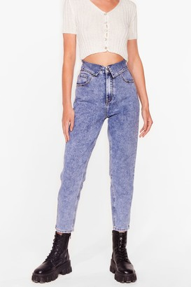 Nasty Gal Womens Do as Your Fold Acid Wash Mom Jeans - Blue - S, Blue