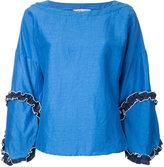 Tsumori Chisato frill detail blouse - women - Linen/Flax/Polyethylene - S
