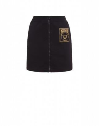 Moschino Teddy Label Fleece Miniskirt Woman Black Size 36 It - (2 Us)