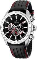 Festina Men's Crono F16489/5 Black Calf Skin Quartz Watch with Black Dial