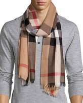 Burberry Men's Cashmere/Wool-Blend Lightweight Mega-Check Scarf, Camel