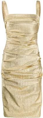Dolce & Gabbana metallic ruched midi dress