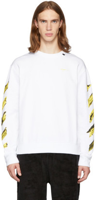 Off-White Off White SSENSE Exclusive White and Yellow Painted Arrows Sweatshirt