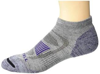 Merrell Merino Wool Cushioned Hiker Low Cut Socks 1-Pair (Grey Heather/Purple) Low Cut Socks Shoes