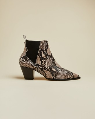 Ted Baker Embossed Snake Effect Western Leather Boots