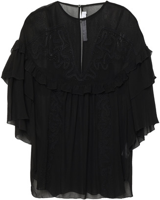 IRO Sude Ruffled Broderie Anglaise Georgette Blouse