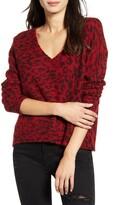 Rails Gracie Leopard Print Wool & Alpaca V-Neck Sweater