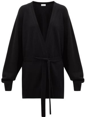 Raey Shawl Belted Cashmere Cardigan - Black