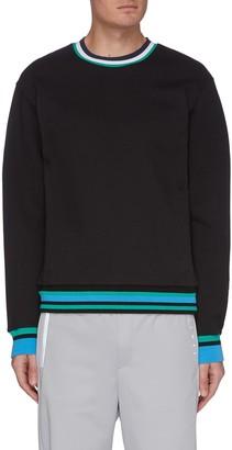 Particle Fever Contrast stripe crewneck fleece sweatshirt