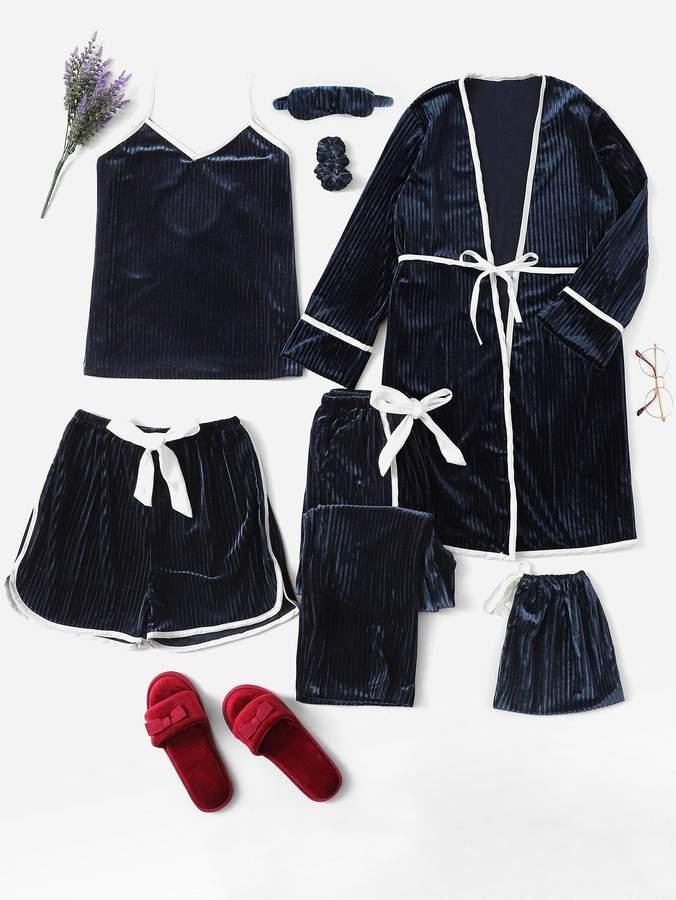 7Pcs Velvet Cami Pajama Set With Robe