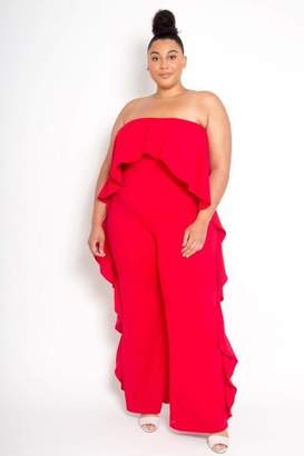 Couture Buxom Strapless Ruffled Jumpsuit in Red Size 2X