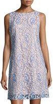Eliza J Floral Lace-Overlay Shift Dress, Blue/White