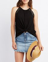 Charlotte Russe Lace-Trim Open Back Tank Top