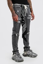 boohoo Mens Grey Skinny Paint Splatter Jeans With Bandana, Grey