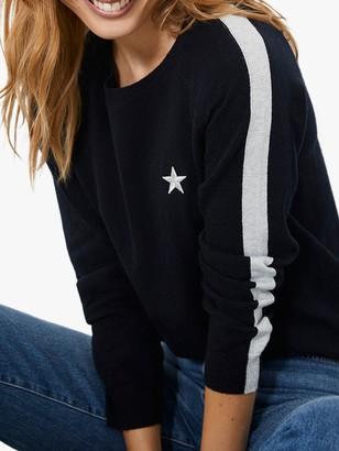 Mint Velvet Contrast Stripe Sleeve Jumper, Navy