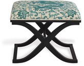 "The Well Appointed House Antiqued Black Bench with Scalamandre Turquoise ""Chi'en Dragon"" Fabric"