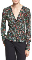 Veronica Beard Ripley Ruched Floral Silk Boho Blouse, Black/Multicolor