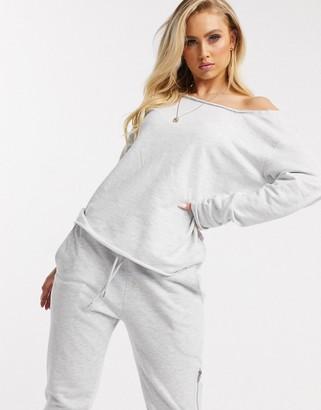 Asos DESIGN lounge off shoulder sweatshirt with raw edge in ice marl