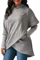 BeneGreat Womens Long Sleeve Pullover Hoodies Asymmetric High Low Hem Sweatershirts Outwear Blouse Tunic Tops With Pockets XL