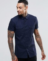 Asos Military Shirt In Navy In Regular Fit