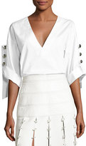 Prabal Gurung Deep-V Button-Sleeve Tunic, White