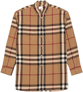 Burberry Long Sleeve Fit Flannel in Multi Check | FWRD